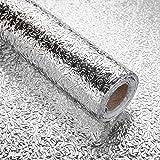 Niviy Autoadesivi Carta da Parati del Foglio di Alluminio Impermeabili stagnola dargento Adesivi Adesivo Parete murali per Cucina Armadio armadietti e cassetti (40 cm x 5 m)