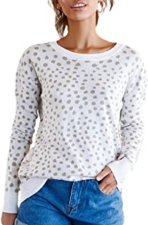 Womens Leopard Printed Round Neck Pullover Sweater Knit Jumper