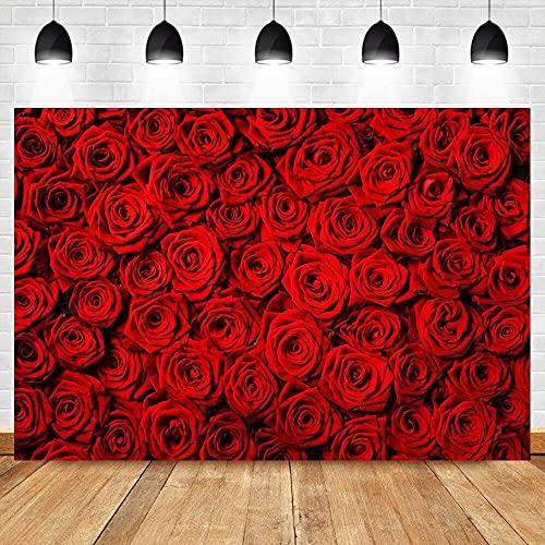 Fondo del día de San valentín Pared de Rosa roja decoración de la Boda fotografía de Fondo decoración Banner Props A1 10x10ft / 3x3m