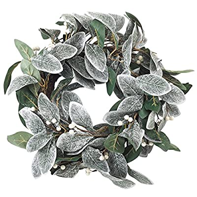 """SARO LIFESTYLE WR920.G Artificial White Berry Frosted Leaf Branch Wreath, 22"""" x 22"""", Green"""