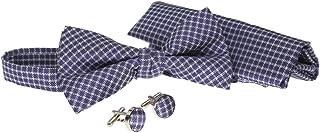 Mens Bow Tie 3pc Gift Set with Matching Hanky Cufflinks Purple Blue Geometric Grid