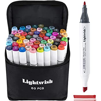 Graphic Drawing Painting Alcohol Art Dual Tip Sketch Pen Twin Marker Design Coloring Highlighting Underlining Set Carry Bag 168 Colour Lightwish Alcohol Markers Set