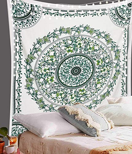 """ANJANIYA Floral Mandala Tapestry Wall Hanging Indian Tapestry Dorm Décor Tapestry Hippy Wall Art Psychedelic Hippie Wall Hanging Bohemian Décor (Green White, 54""""X60"""")"""