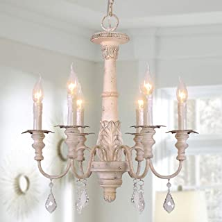 OSAIRUOS French Country Candle-Style Chandelier, Handmade White Distressed Wood Lighting Ceiling Light Fixture Pendant Lamp Chandeliers for Dining Living Room Bathroom W20.8''