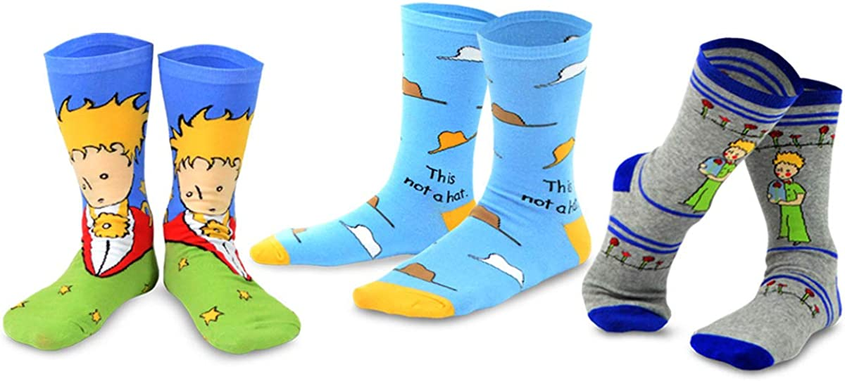 Kid's The Little Prince Silly Fun Fox and Airplane Crew Socks - 3 Pair