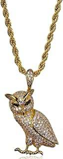 JAJAFOOK Hip Hop Owl Pendant Protection Symbol Animal Necklace, 14K Gold Iced Out CZ Simulated Necklace