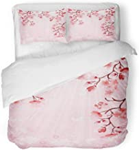 Emvency 3 Piece Duvet Cover Set Breathable Brushed Microfiber Fabric Pink Sakura Japanese Cherry Blossom Red Asian Branch Tree Color Culture East Bedding Set with 2 Pillow Covers Full/Queen Size