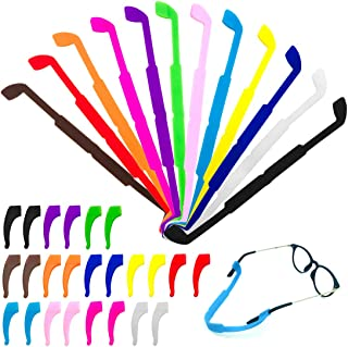 CKANDAY 12 Pack Anti Slip Kids/Adult Eyeglasses Straps with 12 Pair Ear Grip Hooks, Safety Glass Holders Eyewear Retainer ...