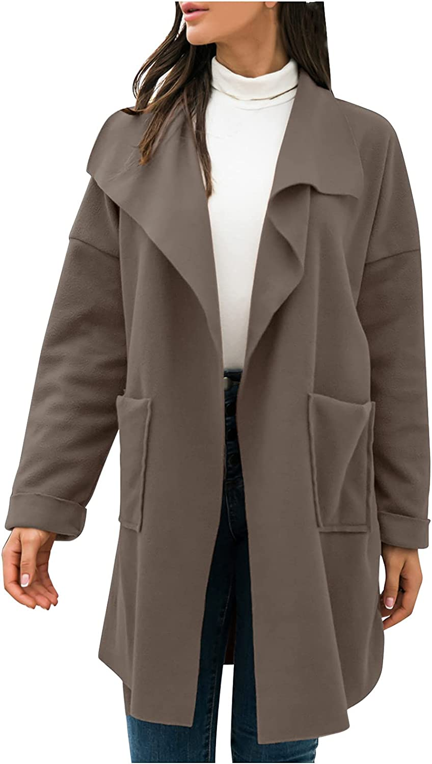 Women's Waterfall Collar Long Sleeve Wrap Trench Coat Cardigan Loose Fit Pockets Wool Blend Solid Outerwear