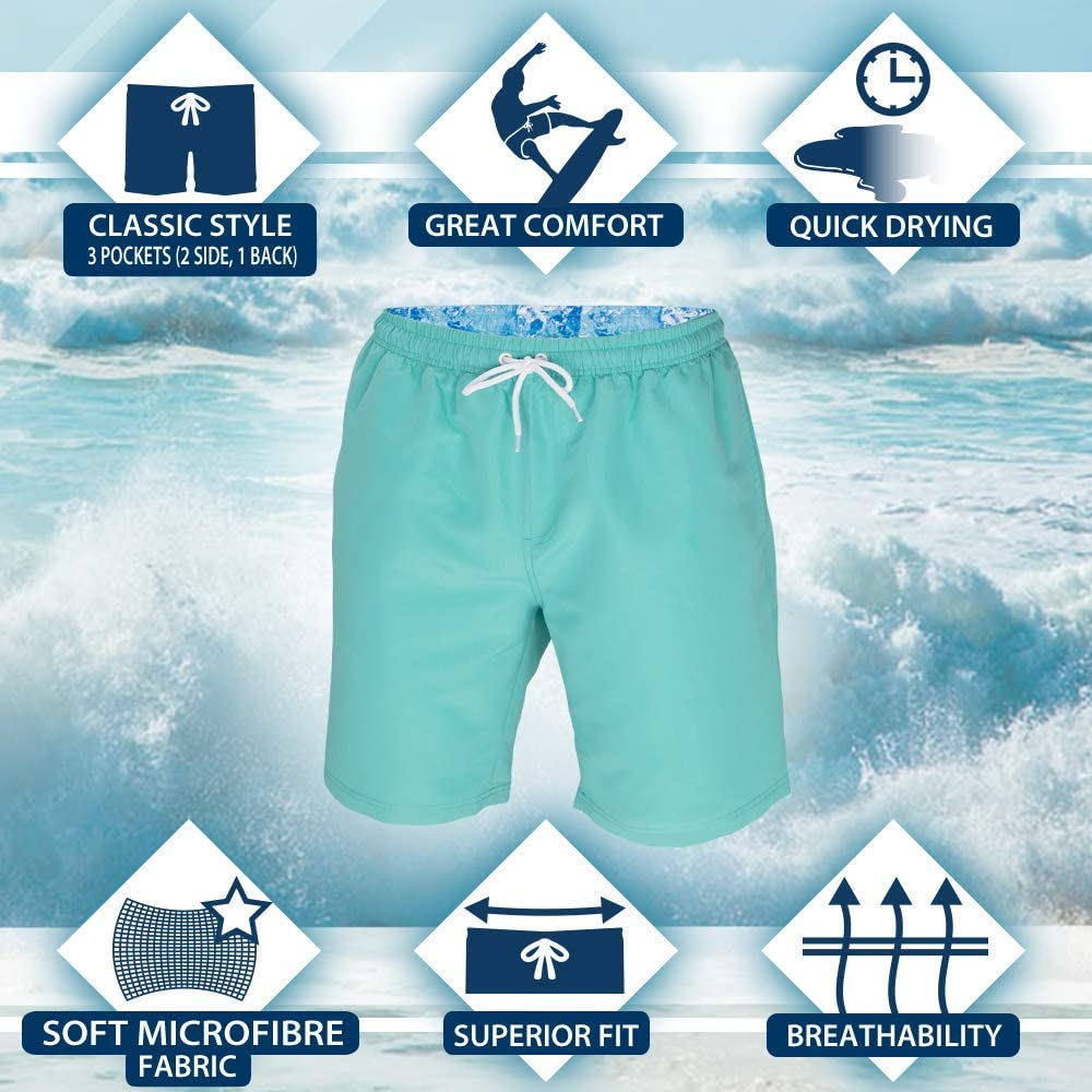 ICE CROSS Men/'s Swim Shorts Quick Dry Swim Suit for Men with Pockets and Liner