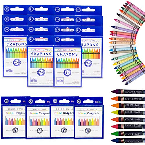 Color Swell Regular and Neon Crayon Bulk Packs - 4 Boxes of Fun Neon Crayons and 14 Boxes of Colorful Regular Crayons of Teacher Quality Durable Classroom Packs for Kids Students Party Favors
