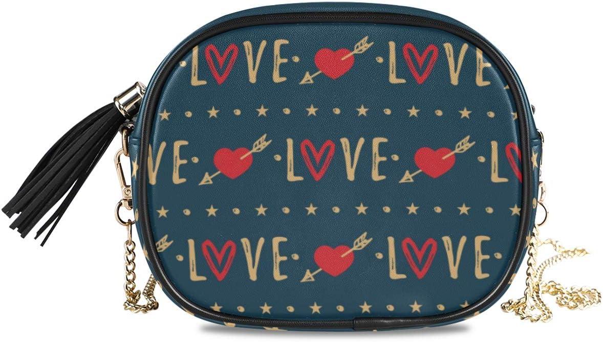 ALAZA Women's Valentine's Day Heart Arrow and Love Cross Body Bag Chain Shoulder Handbag Purse with Tassel
