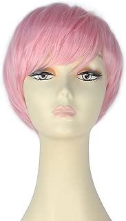 Decent Women Girl Short Straight Bob Hair Party Daily Cosplay Lolita Wig Halloween (Pink)