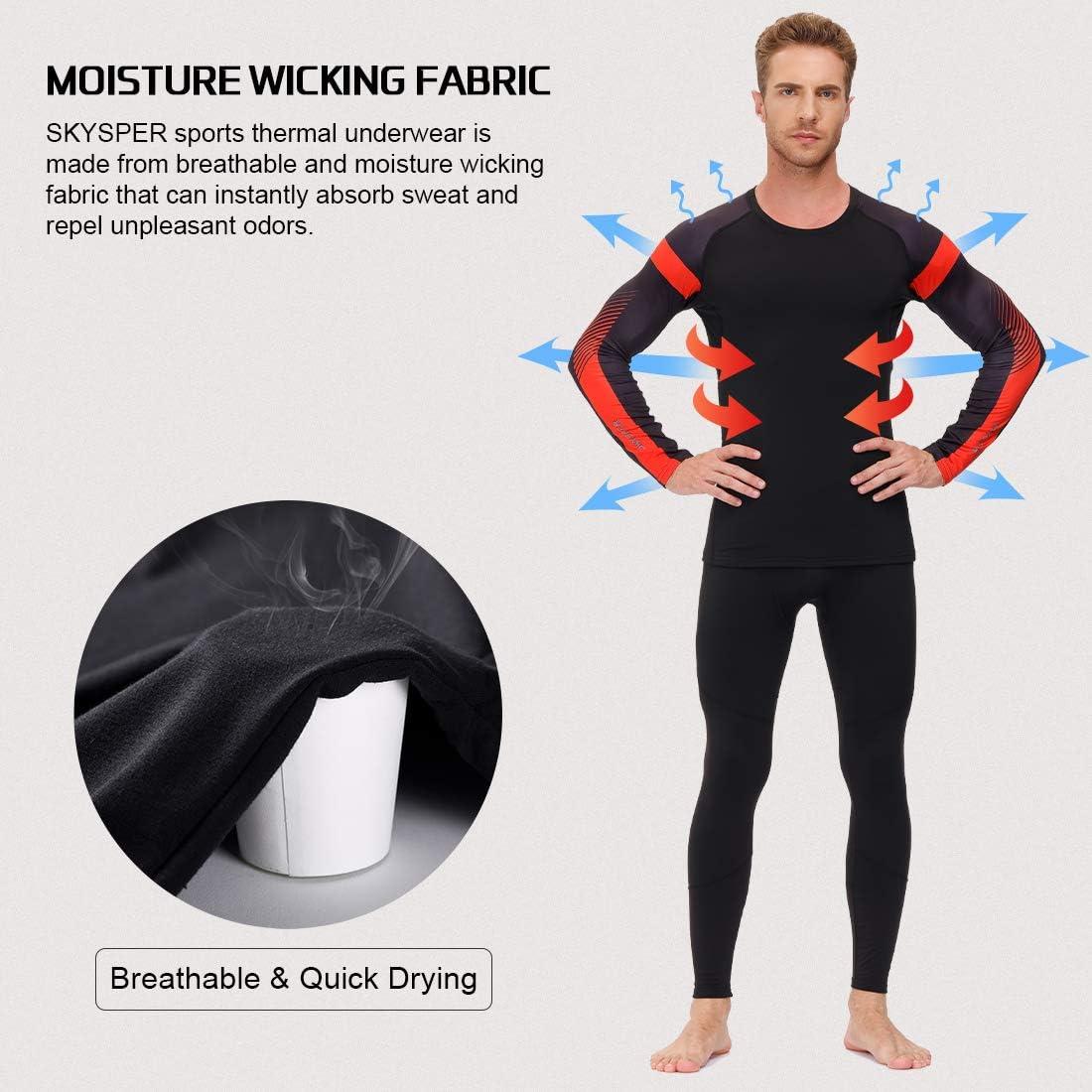 SKYSPER Men's Thermal Underwear Set Fleece Lined Long Johns Sport Base Layer