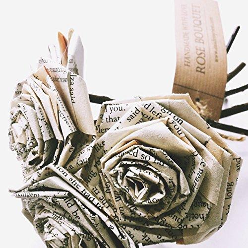 Book Paper Rose Bouquet Novel Flowers Literary Vintage Home D