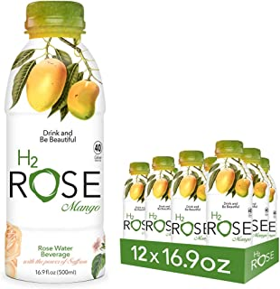 H2rOse - Rose Water Beverage with the Power of Saffron – Healthy Alternative to Sodas & Sports Drinks - All Natural, Gluten Free, Non-GMO, Vegan w/ Added Benefits - 16.9 Oz, 12 Pack (Mango)