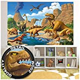 Children's Room Mural – Childrens Room Dinosaur Adventure – Wall Decoration Dino World Comic Style Poster Vulcano Prehistoric Animals Waterfall (82.7 x 55 Inch / 210 x 140 cm)