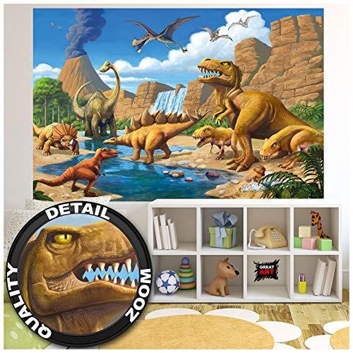 GREAT ART® Fototapete Kinderzimmer – Abenteuer Dinosaurier – Wandbild Dekoration Dinowelt Comic Style Jungle Adventure Dinosaurus Wasserfall Foto-Tapete Wandtapete Fotoposter (210x140 cm)