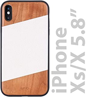 iATO iPhone Xs Wood Case. Genuine Leather & Real Cherry Wood iPhone Xs Case Wooden. Bold & Beautiful Nature Wooden & White Cowhide Leather Case for iPhone Xs & iPhone X on Black Polycarbonate Bumper