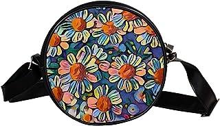 Coosun Umhängetasche mit Gänseblümchen-Motiv, bunt, für den Garten, runde Umhängetasche für Kinder und Damen