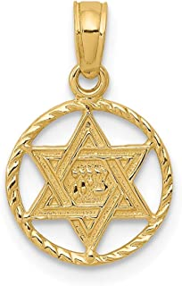 14k Yellow Gold Jewish Jewelry Star Of David In Circle Frame Pendant Charm Necklace Religious Judaica Fine Jewelry Gifts For Women For Her