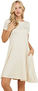 Annabelle Women's Comfy Short Sleeve Scoop Neck Swing...