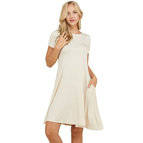3b2250911a21d Annabelle Women's Comfy Short Sleeve Scoop Neck Swing Dresses with Pockets