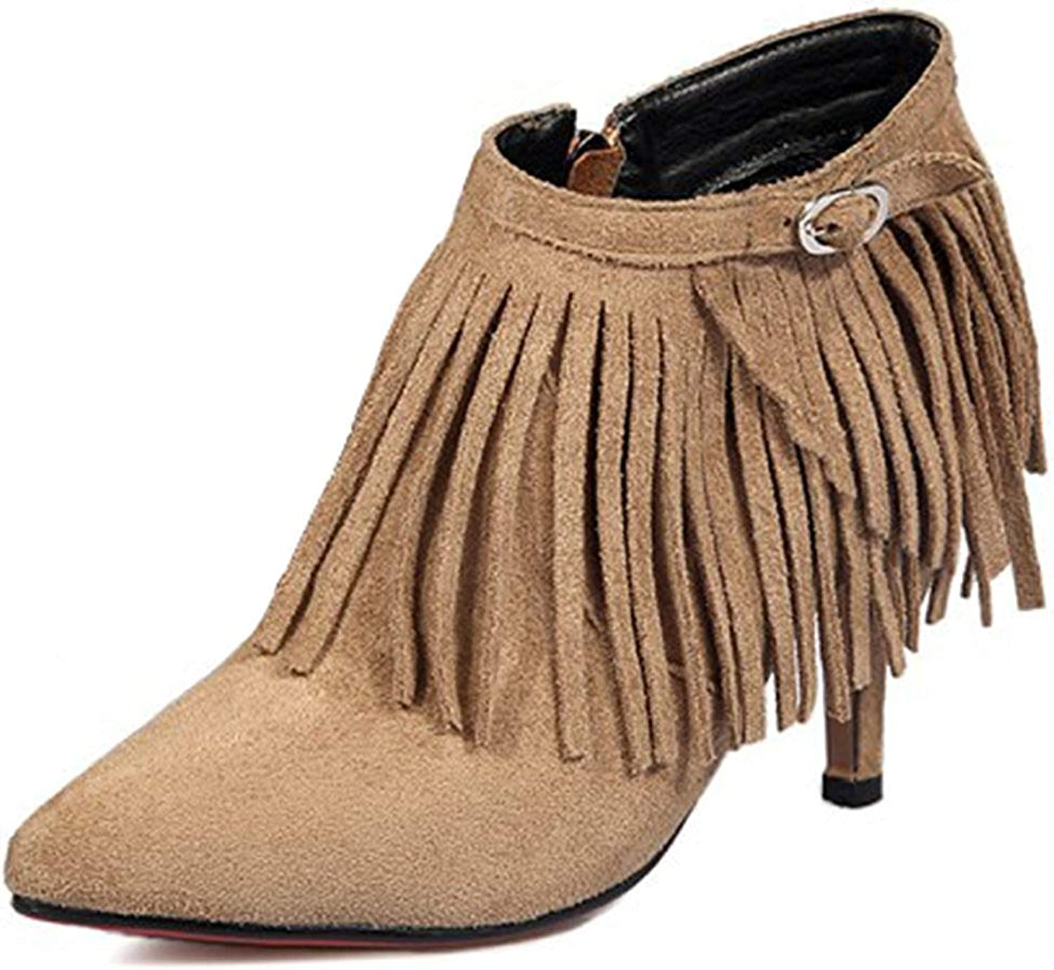 Lelehwhge Women's Sexy Fringe Faux Suede Pointed Toe Short Boots Stiletto High Heel Slip On Ankle Booties Apricot 4 M US