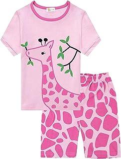 492dd68fdc Little Hand Kinder Schlafanzug Mädchen Kurz Einhorn Giraffe Flamingo Mond  Katze Sommer Zweiteiliger Baumwolle Nachtwäsche T