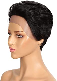 DÉBUT short lace front wigs human hair wigs Pixie wigs Brazilian Virgin Hair 9 inches 79g Natural Black