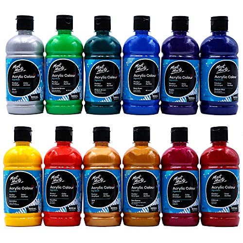 Mont Marte Signature Acrylic Color Paint Set, 12 x 16.9oz (500ml), Semi-Matte Finish, 12 Vibrant Colors, Suitable for Canvas, Wood, Fabric, Leather, Cardboard, Paper, MDF and Crafts