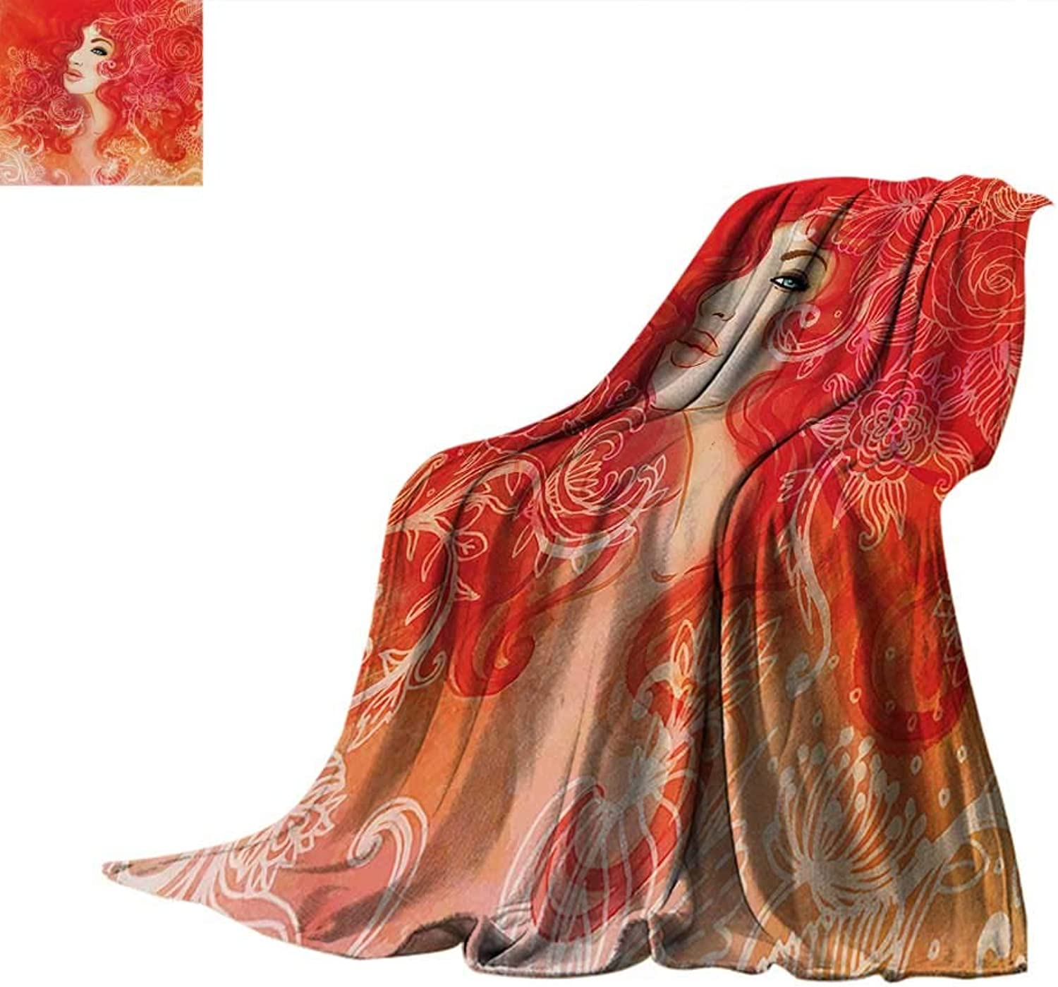 Girls Warm Microfiber All Season Blanket Woman Face with Floral Ornamentals in Hair Glamour Watercolor Modern Artwork Warm Microfiber All Season Blanket for Bed or Couch 60 x50  Red orange Cream