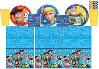 Toy Story 4 Party Kit for 16 Guests: Plates, Cups, Napkins, Tablecloth and ElevenPlus2 Straws
