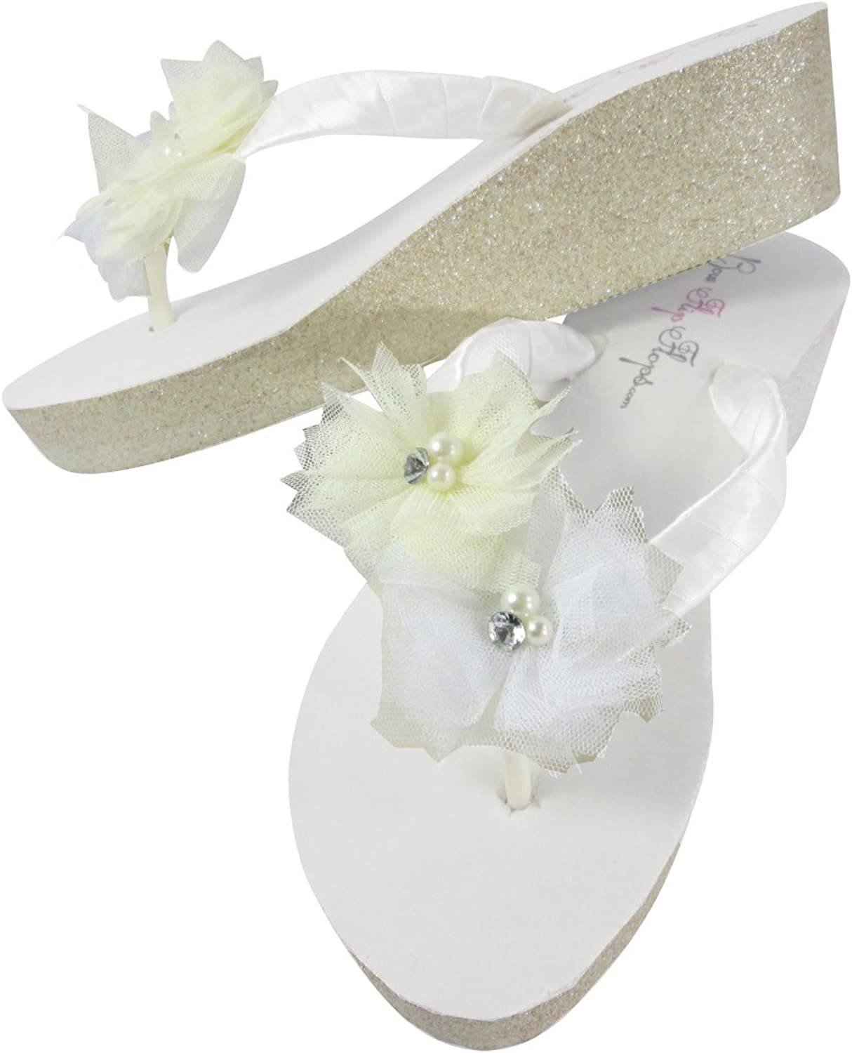 Bridal Flip Flops with Tulle Flowers, Champagne Glitter Wedge 2 inch Heel