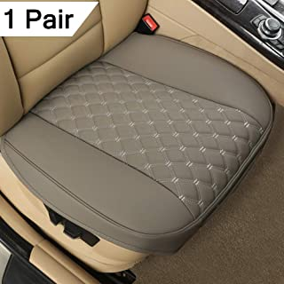 """Black Panther 1 Pair PU Car Seat Covers, Front Seat Protectors Compatible with 90% Vehicles,Diamond Pattern Embroidery,Anti-Slip & Full Wrapping Edge (W 21.26''×D 20.86""""),Gray"""