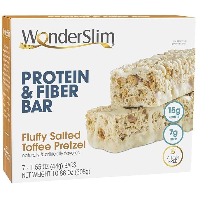 WonderSlim Protein & Fiber Bar, Salted Toffee Pretzel - 15g Protein, 7g Fiber, Gluten Free (7ct)