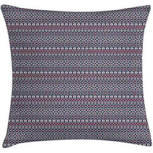 QDAS Mexicaanse print sierkussen kussensloop Ancient Kingdom geïnspireerd motieven decoratieve ruimte accentkussensloop Aubergine Multicolor