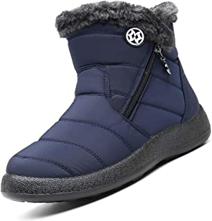 Eagsouni Snow Boots Womens Winter Ankle Boots Ladies Warm Fur Lined Booties Thickening Shoes Slip On Sneakers Outdoor Booties