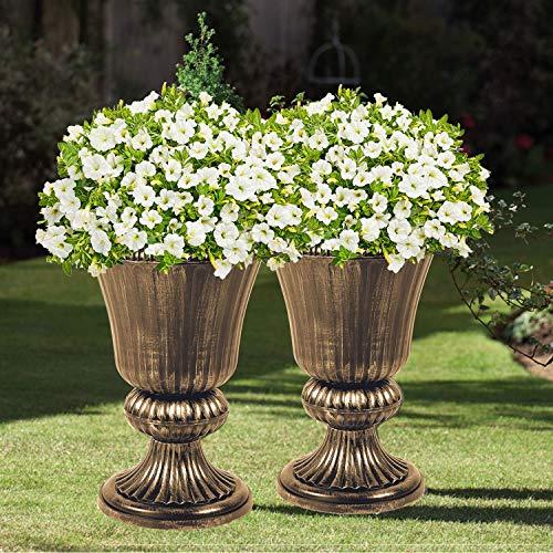 Parkland Set of 2 Classic Urn Planters Plastic Flower Plant Pot Indoor Outdoor Patio Garden (Bronze)