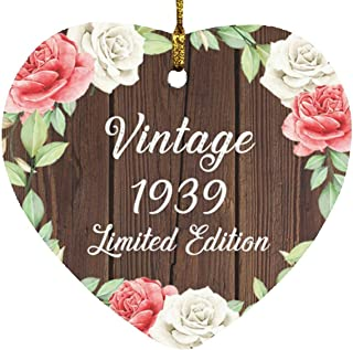 82nd Birthday Vintage 1939 Limited Edition - Heart Wood Ornament A Christmas Tree Hanging Decor - for Friend Kid Daughter ...