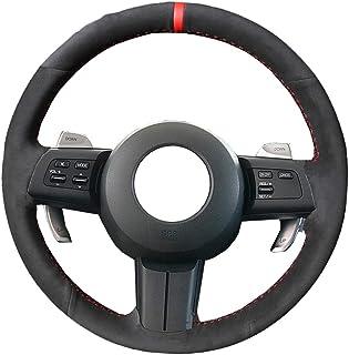 HCDSWSN Cubierta del Volante del Coche Cosida a Mano de Gamuza Negra para Mazda MX-