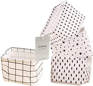 Rainbow-Lee Small Canvas Storage Bins, Mini Cute Foldable Fabric Storage Basket Box, Toy Organizer Hamper for Baby,Kids,Pe...