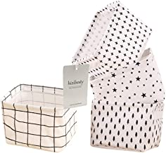 Small Canvas Storage Bins, Mini Cute Foldable Fabric Storage Basket Box, Toy Organizer Hamper for Baby,Kids,Pets,Office, M...