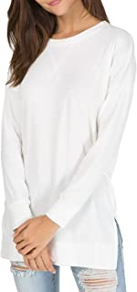 Women's Fall Long Sleeve Side Split Loose Casual Pullover Tunic Tops