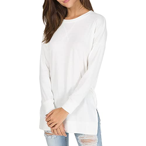 ce7df6467bf levaca Women s Fall Long Sleeve Side Split Loose Casual Pullover Tunic Tops