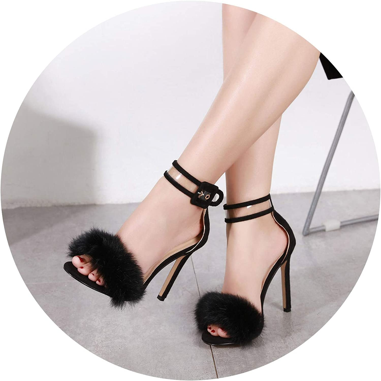 Fashion Summer Women Retro Plush Feather Nightclub Wedding High-Heeled Sandals shoes Sexy Dazzling Woolen shoes
