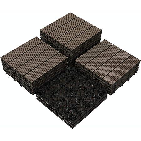 "PANDAHOME 22 PCS Wood Plastic Composite Patio Deck Tiles, 12""x12"" Interlocking Decking Tiles, Water Resistant for Indoor & Outdoor, 22 sq. ft - Mocha"