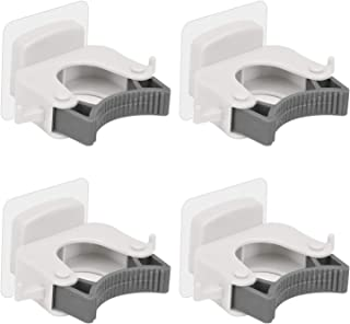 Aiamo Broom Mop Holder, Wall-Mounted Multi-Function Tools Hanger with, Handles Up Diameter to 1.25-Inches (4 PCS White)