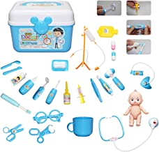 MEckily Kids Doctor Kit 26 Pieces Pretend Play Toy Medical,Electronic Stethoscope,Light & Sounds,Packed in a Sturdy Gift Case for Age 3-6 Kids