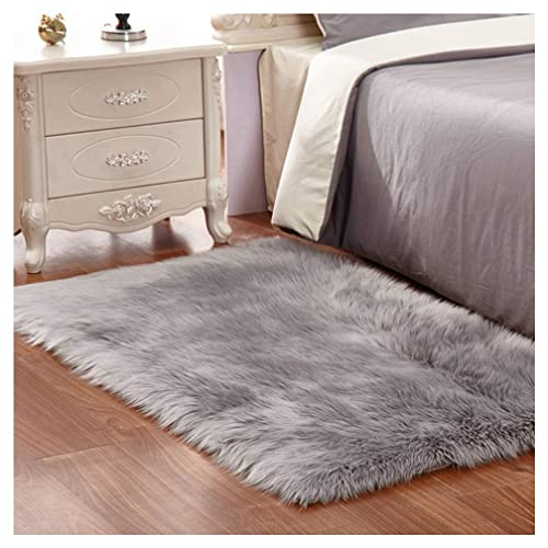 Faux Fur Rug Soft Fluffy Rug 60 x 90 cm Shaggy Rugs Faux Sheepskin Area Rugs Floor Carpets for Bedrooms Living Room Kids Rooms Decor (Grey)